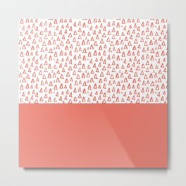 Triangles Coral Red Metal Print