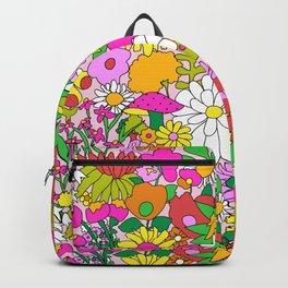 60's Groovy Garden in Pink Backpack