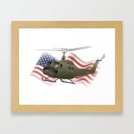 UH-1 Huey Helicopter with American Flag Framed Art Print