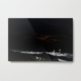 Boy and Girl playing in the waves Metal Print