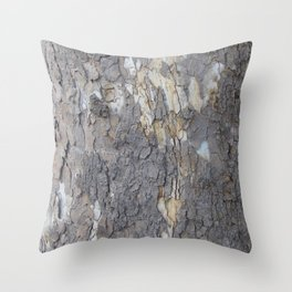 brown sycamore bark Throw Pillow