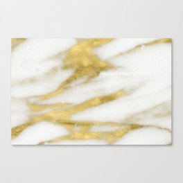 Marble - Gold Marble on White Pattern Canvas Print