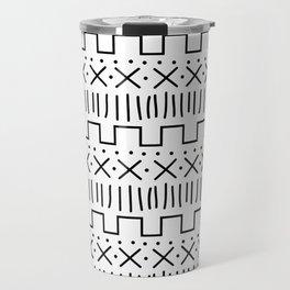White + Black Mud Cloth Travel Mug