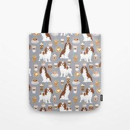Cavalier King Charles Spaniel coffee lover custom pet portrait by pet friendly dog breeds Tote Bag