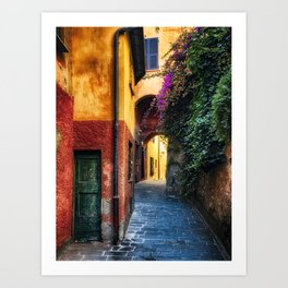 Narrow Street with Bougainvillea Flowers, Portofino, Liguria, Italy Art Print