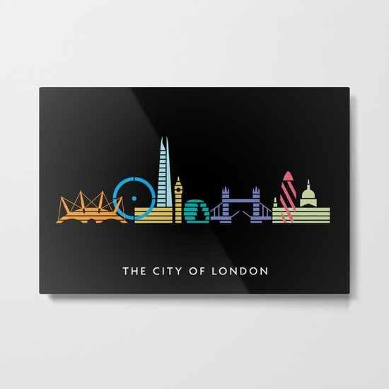 London Skyline Black Metal Print