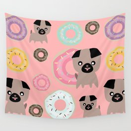 Pug and donuts pink Wall Tapestry