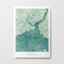 Istanbul Map Blue Vintage Metal Print