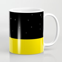 Black night with stars, moon, and yellow sea Coffee Mug