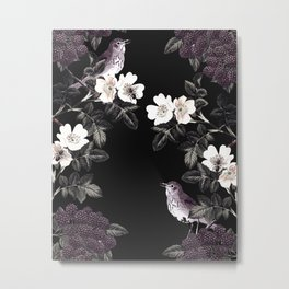 Blackberry Spring Garden Night - Birds and Bees on Black Metal Print