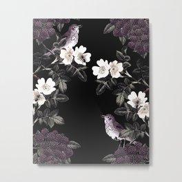 Blackberry Spring Garden Night - Birds and Bees on Black Metal Print