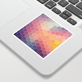 COLORFUL RETRO HEXAGONS HONEYCOMB Sticker