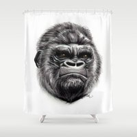 gorilla Shower Curtains featuring Gorilla by Creadoorm