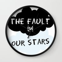 fault Wall Clocks featuring The Fault In Our Stars by swiftstore