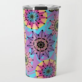 Vibrant Abstract Floral Pattern Travel Mug