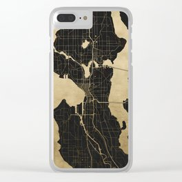 Seattle Black and Gold Map Clear iPhone Case