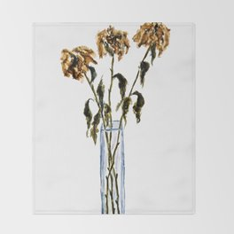 Three dried peonies Throw Blanket