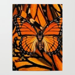 ORANGE MONARCH BUTTERFLY PATTERNED ARTWORK Poster