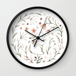 Watercolor Bunny Wall Clock