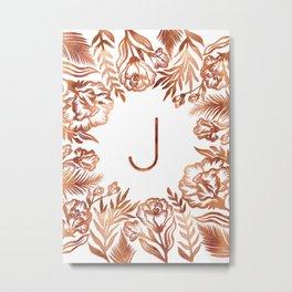 Letter J - Faux Rose Gold Glitter Flowers Metal Print