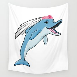 Dolphin as bride with veil and flowers Wall Tapestry