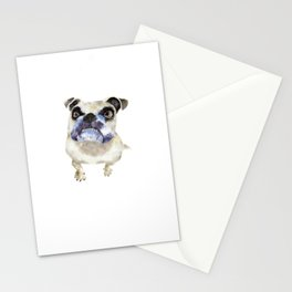 Pet British bulldog watercolor art illustration Stationery Cards