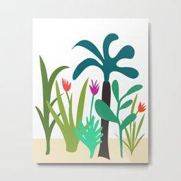 Lush Tropical Garden // Hand-drawn Modern Organic Illustration Metal Print