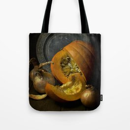 Still life with pumpkins and onions Tote Bag