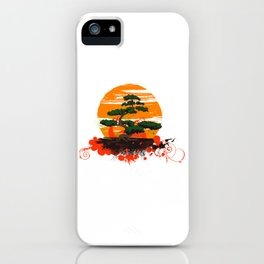 Cute Bonsai Tree Plant and Sunset Shirt Nature Tee iPhone Case