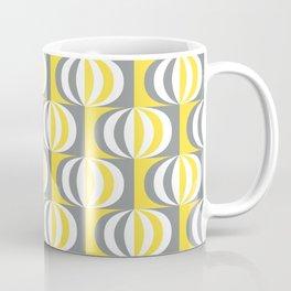 Retro Mid-century striped ovals Illuminating Yellow, Ultimate Gray, White Coffee Mug