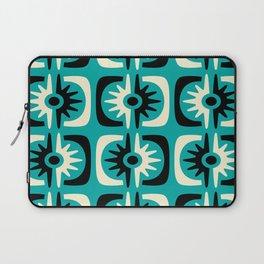 Mid Century Modern Big Bang Pattern Turquoise and Black 2 Laptop Sleeve