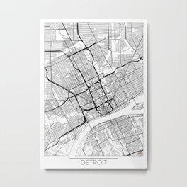 Detroit Map White Metal Print