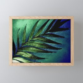 METALLIC PEACOCK COLOURS PEARL LUSTRE LEAF PRINT Framed Mini Art Print