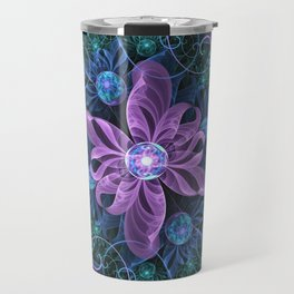 Bejeweled Butterfly Lily of Ultra-Violet Turquoise Travel Mug