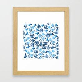 Blue Hummingbirds and Flowers Framed Art Print
