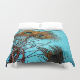 3 peacock feathers Duvet Cover
