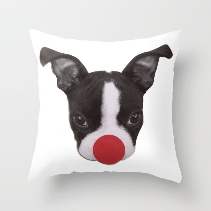Boston Terrier Puppy Christmas Rudolph  Throw Pillow