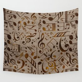 Golden pyrography  Musical notes pattern on wood Wall Tapestry