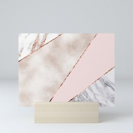 Spliced mixed rose gold marble Mini Art Print