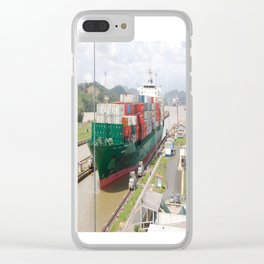 A cargo ship crossing the Miraflores locks at the Panama Canal Clear iPhone Case