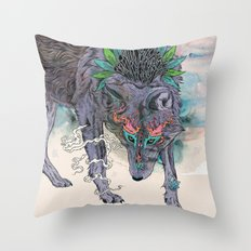 Journeying Spirit (wolf) Throw Pillow