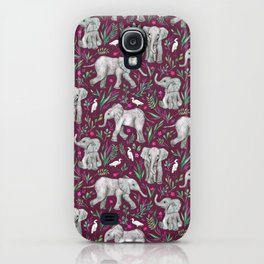 Baby Elephants and Egrets in Watercolor - burgundy red iPhone Case