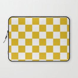 Mustard Yellow Checkers Pattern Laptop Sleeve