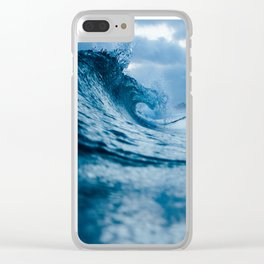 Blue Sea and Waves Clear iPhone Case