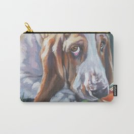 Beautiful Basset Hound dog portrait art an original painting by L.A.Shepard Carry-All Pouch
