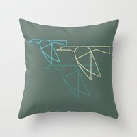mid century Throw Pillows featuring Mid-Century Style Ducks by Dog A Day