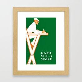 Game set and match retro tennis referee Framed Art Print
