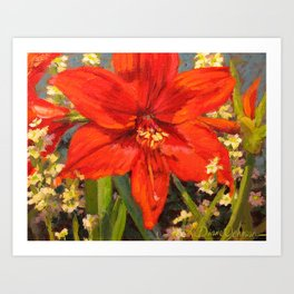 Lone Beauty — Red Daylily Blossom by L Diane Johnson Art Print