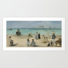 On the Beach, Boulogne-sur-Mer by Edouard Manet Art Print