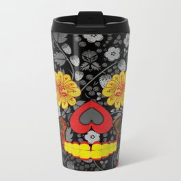 Russian Sugar Skull Metal Travel Mug